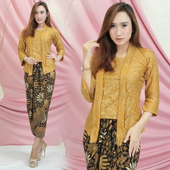 Jual New Model Kebaya Setelan Brokat Kutubaru Gold Jakarta Pusat Berkah Shopp Tokopedia