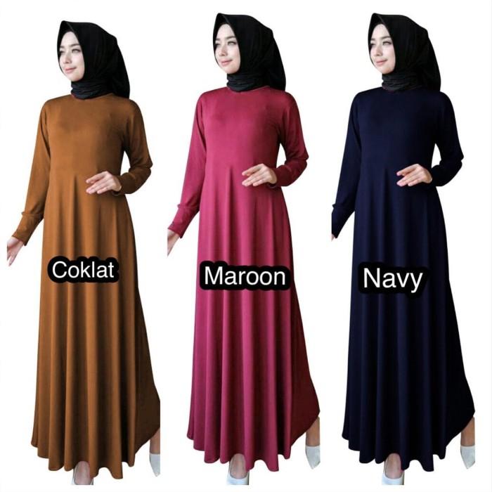 Jual Gamis Maxi Muslimah Polos Bahan Jersey Fit To Xl Termurah
