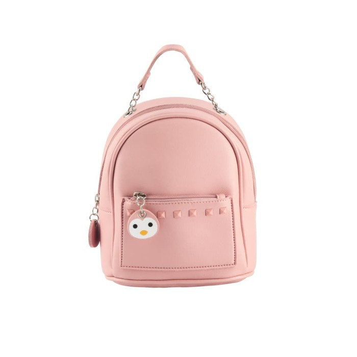Inone tas wanita backpack cute small ransel mini pu leather - merah muda