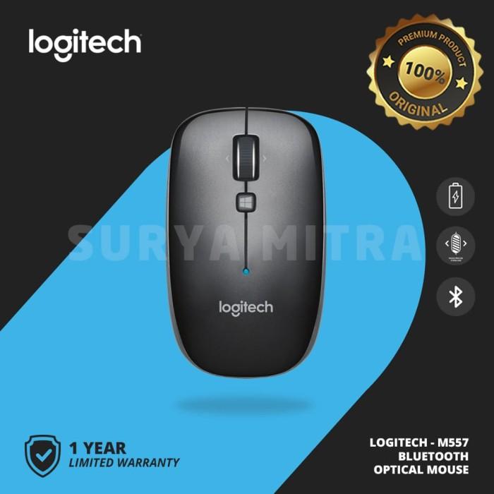 Logitech M557 / M 557 Bluetooth Wireless Mouse - Hitam
