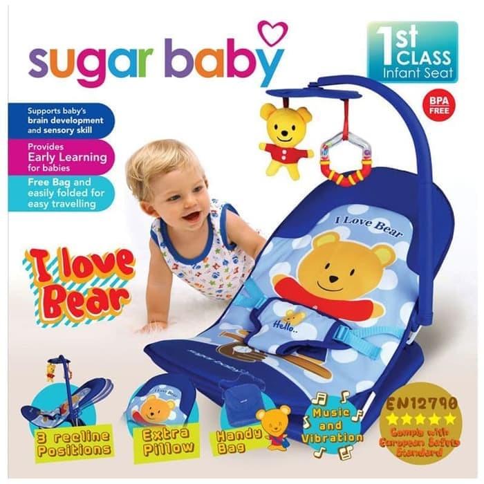 Fold Up Infant Seat Sugar Baby I Love Bear / Bouncer Kursi Santai Bayi