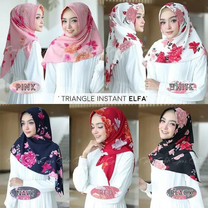 Jilbab segi empat motif bunga elfa