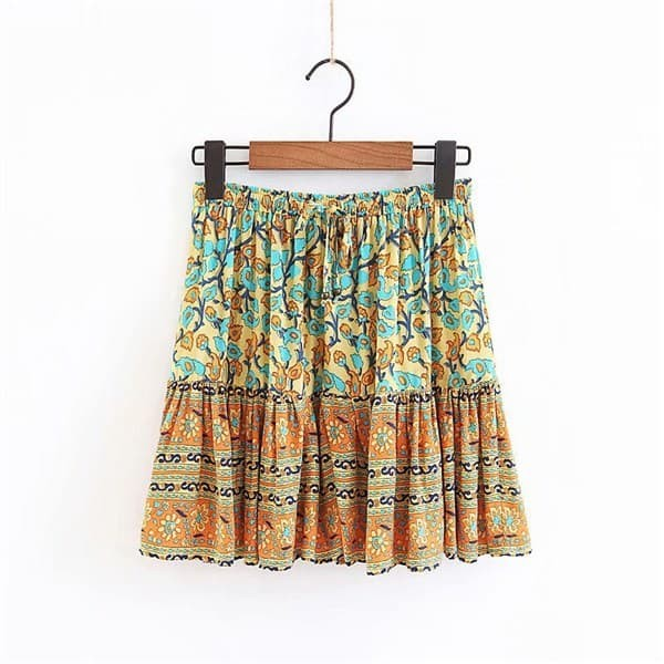 23363 Yellow Bohemian Fluted Skirt