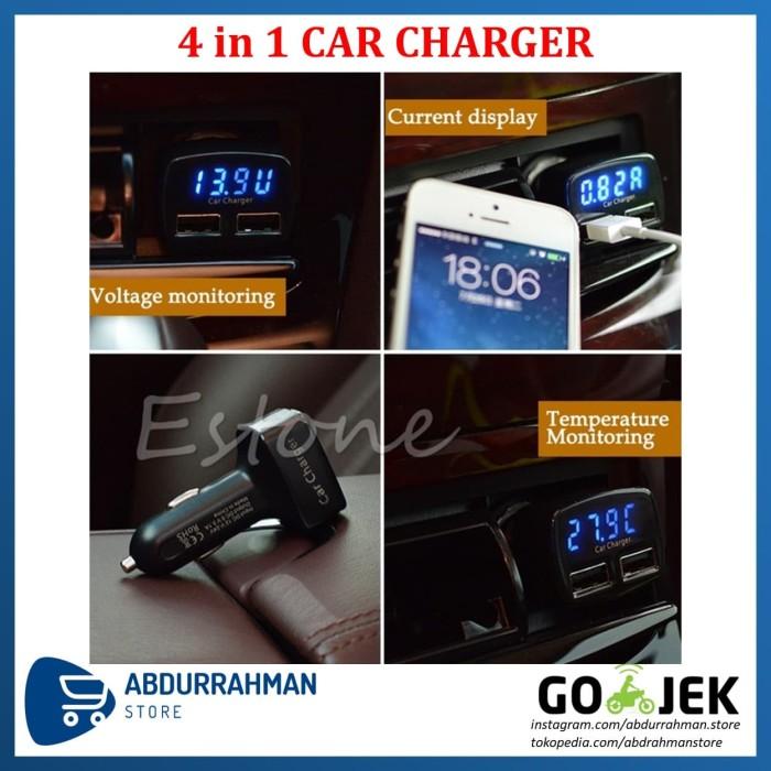 Foto Produk Car Charger LED 4 in 1 USB Casan Mobil Voltmeter, Ampere, Temperatur dari Abdurrahman Store