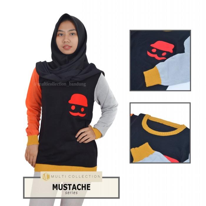 harga Mustache   sweater wanita   bjau rajut   fashion wanita   baju hangat Tokopedia.com