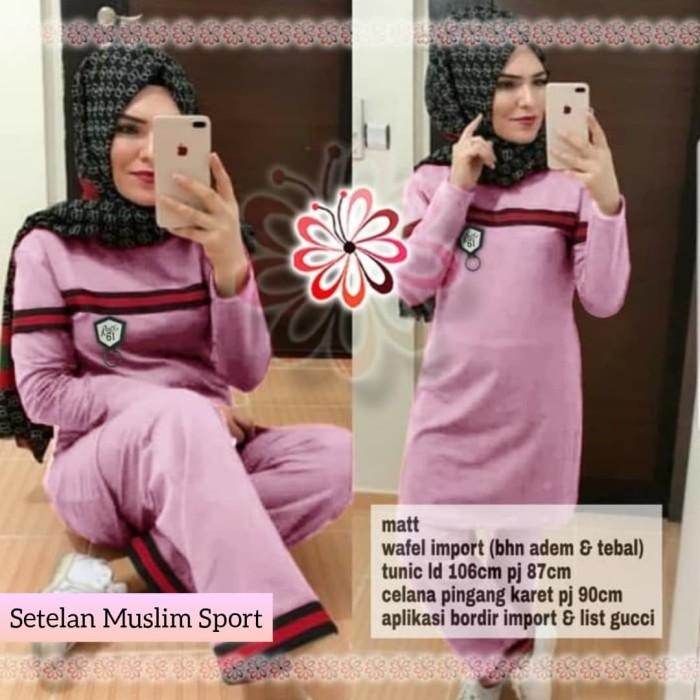 harga Setelan muslim baju olahraga jumbo blouse+celana senam aerobik dusty Tokopedia.com