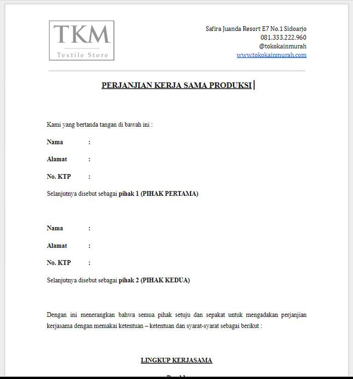 Jual Surat Perjanjian Kerja Sama Produsen Dengan Konveksi Penjahit Kab Sidoarjo Toko Kain Murah Com Tokopedia