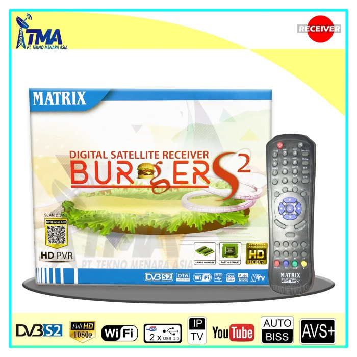 Jual Receiver Parabola HD - Matrix Burger S2 K5S 8MB (New Model 2018) -  Kota Medan - Tekno Menara Asia | Tokopedia