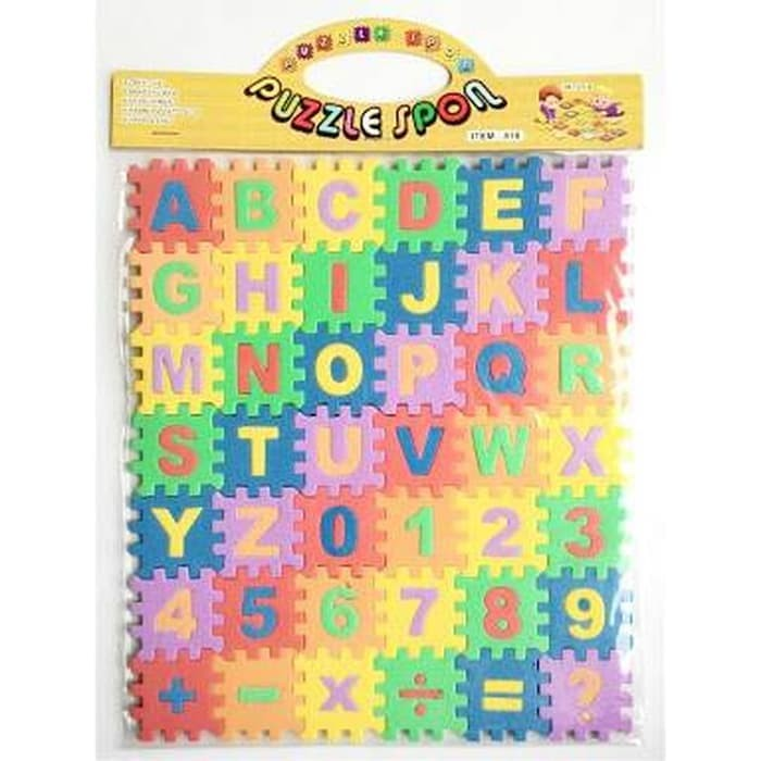 puzzle spon kecil busa evamat huruf angka mainan anak kids balita