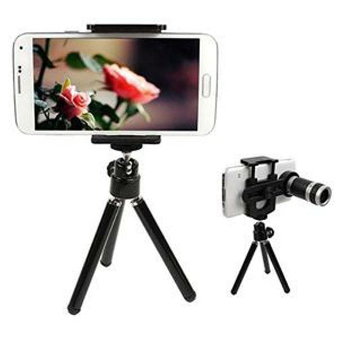Termurah Mini Tripod + Tele Zoom 8X Universal Lensa For Smartphone