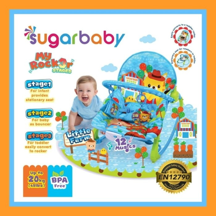 2e454c2d87bd Jual Bouncer Bayi Sugar Baby My Rocker 3 Stages Little Farm - Biru ...