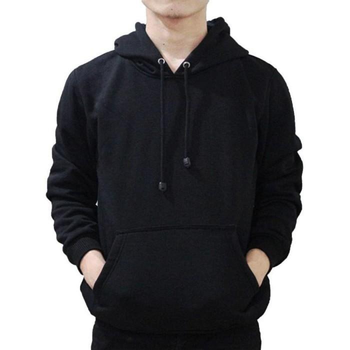 Jual Jaket Polos Pria Cowok Hoodie Jumper Sweater Hitam Pekat Keren ... 8978299791