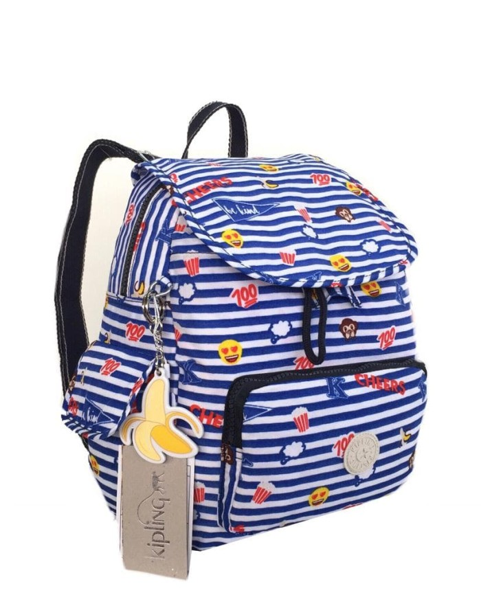 Tas ransel Kipling Ori City Pack Emoji Stripe Small - Blue Stripe