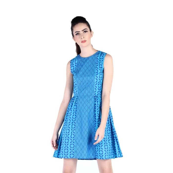 harga Dress batik katun wanita rianty batik tasha - blue - biru l Tokopedia.com
