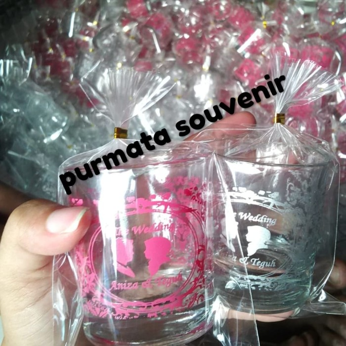 Foto Produk souvenir gelas LU/souveni gelas/souvenir gelas mini/souvenir pernikaha dari purmata souvenir