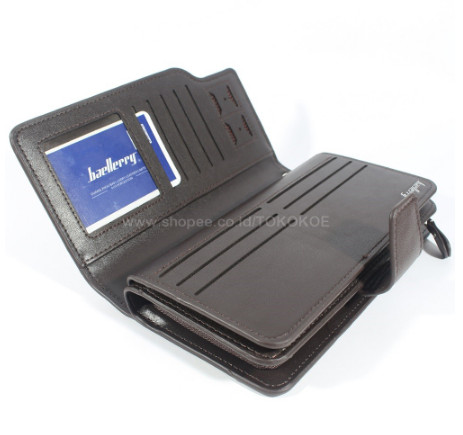 DOMPET KARTU KULIT PRIA WANITA BAELLERRY PANJANG IMPORT 22 CARD BLACK - Cokelat