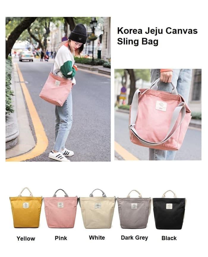 Korea Jeju Travel Canvas Sling Bag / Tas Selempang Wanita