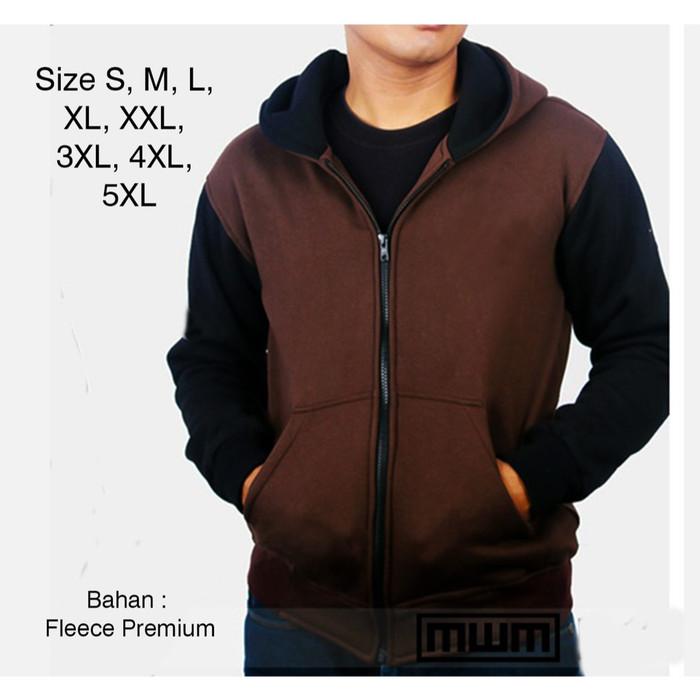 Foto Produk Jaket Jumbo Pria Hoodie Big Size Sweater S M L XL, XXL, XXXL, 4XL, 5XL - Maroon Hitam, M dari Gudangnya Batik