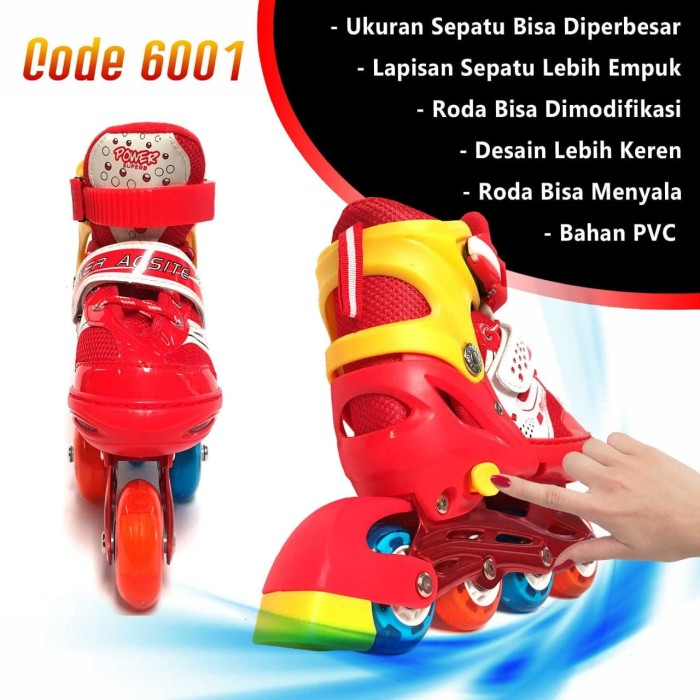 Sepatu Roda Anak Inline Skate Kids Ban Karet LED PVC Power Aosite 6001 af49497410