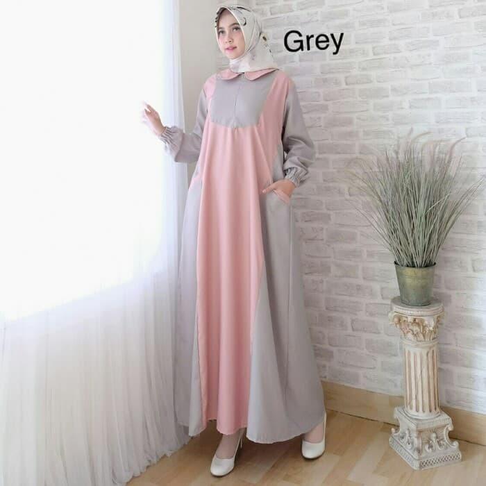 Jual Jessy Maxi Busana Muslim Modern Baju Muslim Wanita Gamis Murah Grey Kota Medan Anjannishooppppp Tokopedia