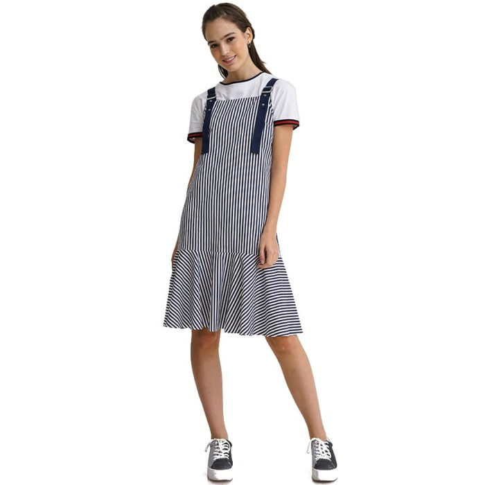 harga Minimal zora buckle dress blue stripe - biru s Tokopedia.com
