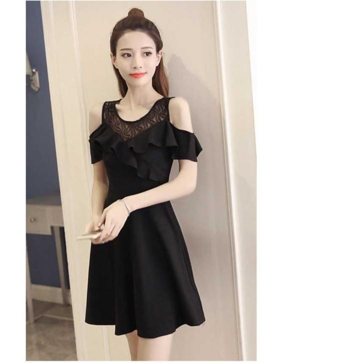 Jual Gaun Pesta Dress Wanita Import Black Hitam Off Shoulder Kota