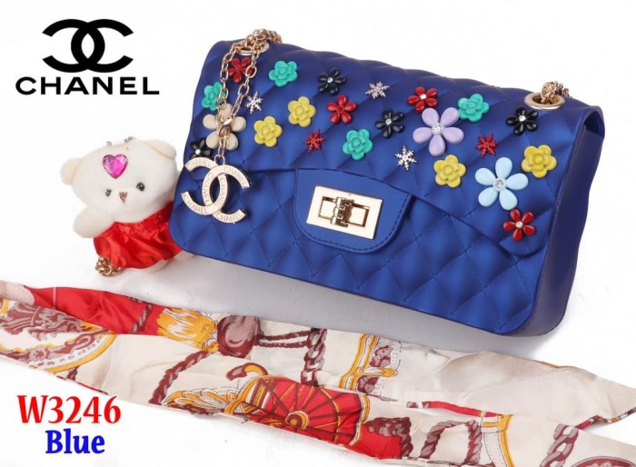 ad5cf47fb731 Tas Bag Impor Import Chanel Classic Jelly Flower W3246 3246 Biru Blue