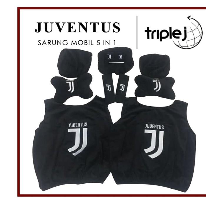Bantal Mobil Juventus Set 5 in 1 / Sarung Jok Mobil Juventus Set 5 in1