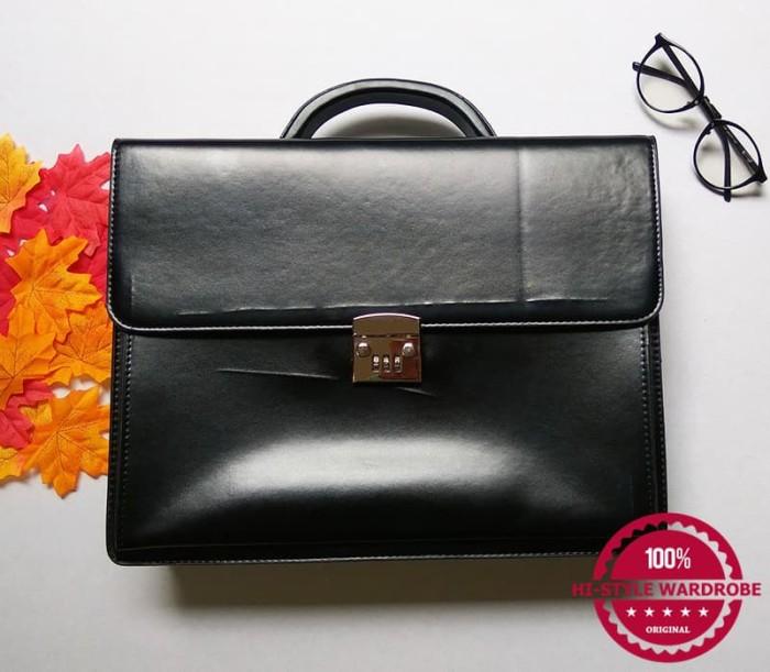 Tas Koper Kerja Laptop Briefcase Kulit Kunci Kombinasi (Defect 2)