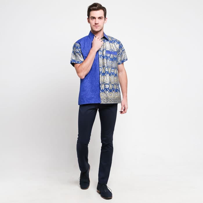 Jual Baju Atasan Modern Keren Pria Batik Kombinasi Polos Jostin Kota Yogyakarta Jogja Market Tokopedia