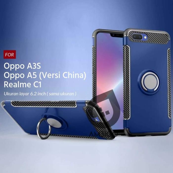 harga Ambigo case oppo a3s / realme c1 ring carbon kickstand hybrid - biru Tokopedia.com