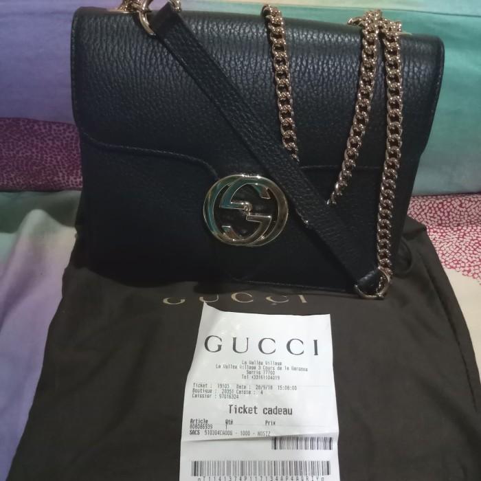 6cb93e8a49c3 Jual Gucci Black GG Closure leather chain crossbody - Kab. Ponorogo ...