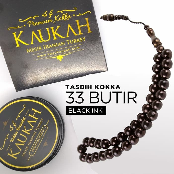 Tasbih Kokka 33 Hitam Premium Kotak Box Kaukah - Kaleng - Sertifikat