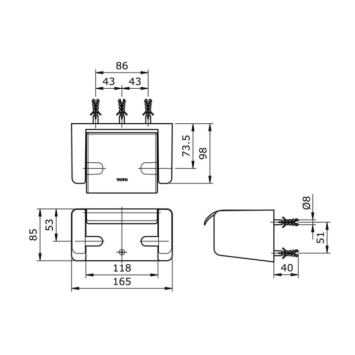 Tempat Tissue TOTO TX720ACRB | Tisu Paper Holder | Tisue Gulung