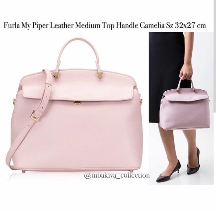 e2e5dd46f18 Jual Furla My Piper Leather Medium Top Handle Camelia - Kab ...