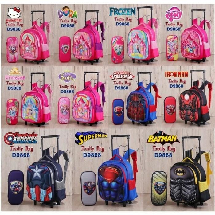 troly anak tas sekolah ransel koper set import