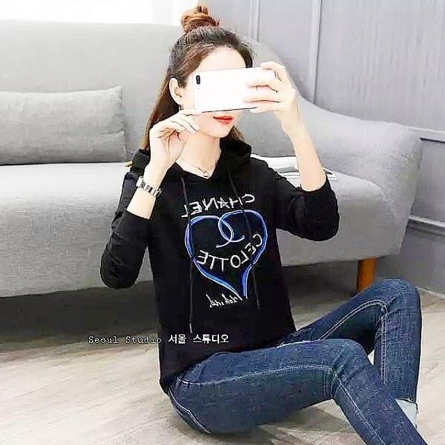 harga Sweater knit wanita import korea chanel bahan premium hoodie topi Tokopedia.com