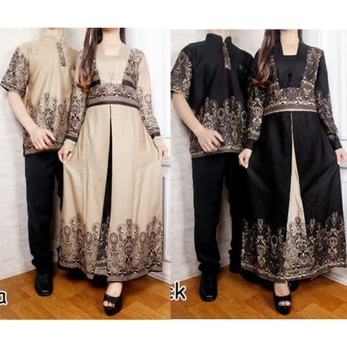 Murah Batik Couple Dinda Kimono Maxi Belah Gamis Kemeja Koko