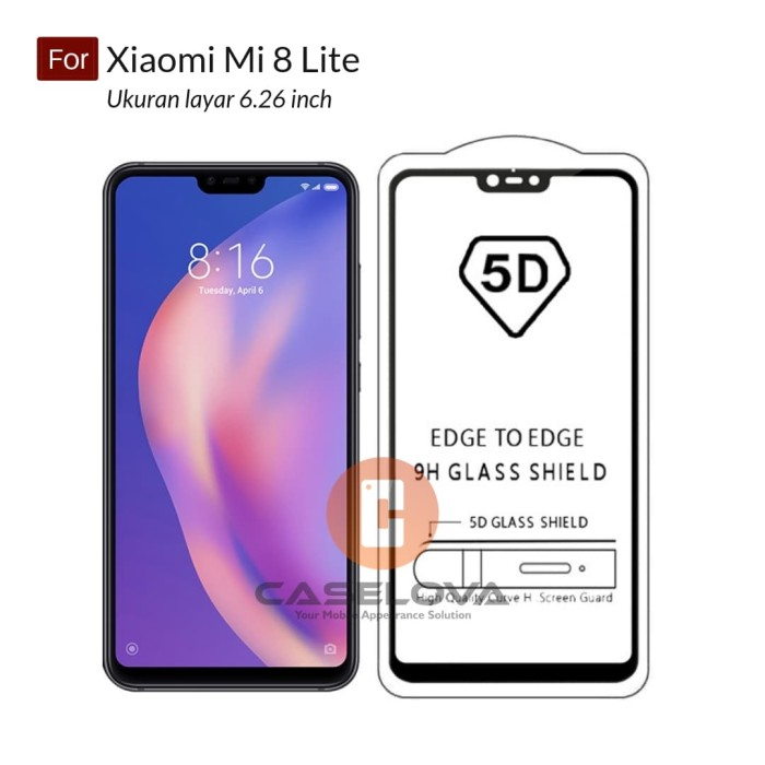 ... Full Cover Tempered Glass Warna 5D Xiaomi Mi 8 LITE - Hitam covermymeds, cover letter, cover letter examples, covers, cover letter template, ...