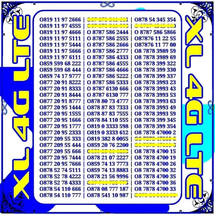 Nomor Cantik XL Kartu Perdana XL Axiata 4G LTE Angka Rapih Pilihan
