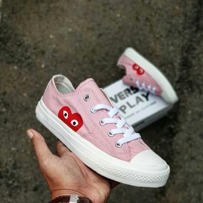 Jual Terlaris sepatu sneakers casual converse play CDG low baby pink ... 8c4581ca0a