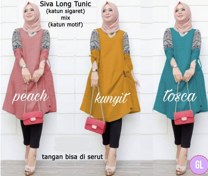 Atasan Wanita Muslim - Baju Long Tunik Siva - Dzikri Moeslim Collection 764d5e703b