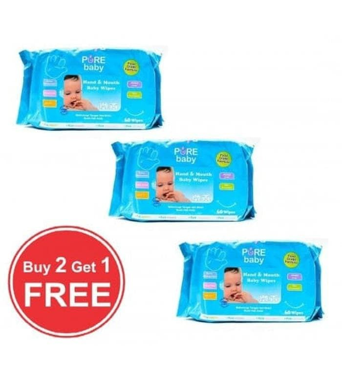Termurah Pure Baby Wipes Hand & Mouth Buy 2 Get 1