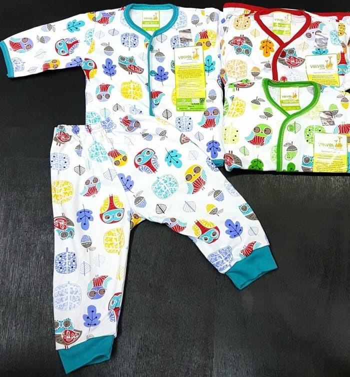 Termurah Velvet Junior Stelan Newborn Piyama Panjang Baju Bayi