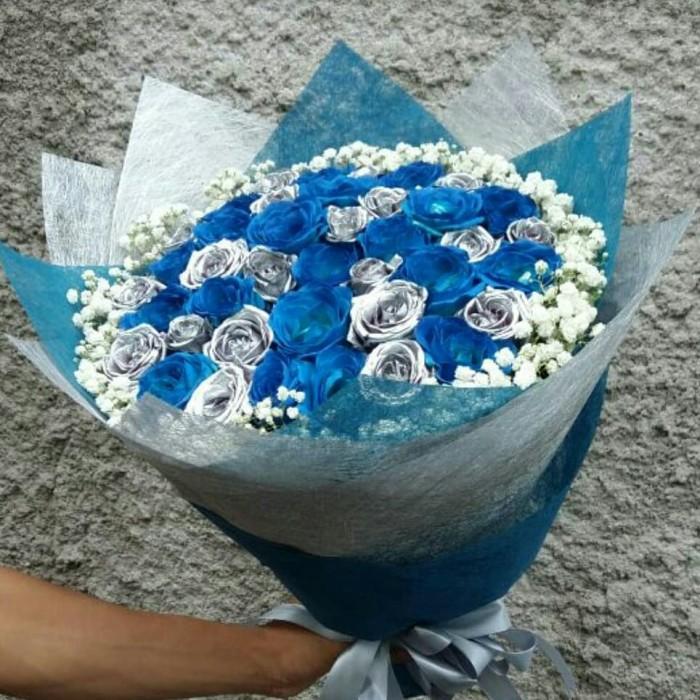 Jual Buket Bunga Mawar Biru Silver Jakarta Barat Ayudia Florist Tokopedia
