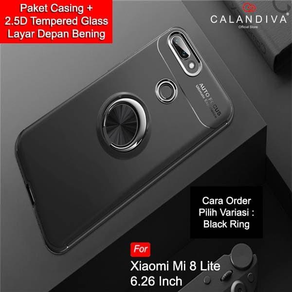 Calandiva Case Xiaomi Mi 8 Lite (6.26 Inch) Casing Ultimate Ring .