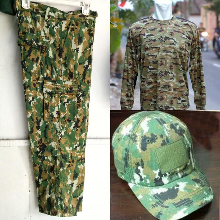 setelan satu set celana/kaos/topi loreng kostrad army tactical outdoor