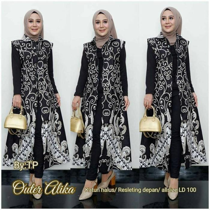 Jual Nk Batik Outer Vest Long Cardi Batik Baju Cewe Rompi Cardigan Cewe Putih Kota Pekalongan Nk Batik Tokopedia