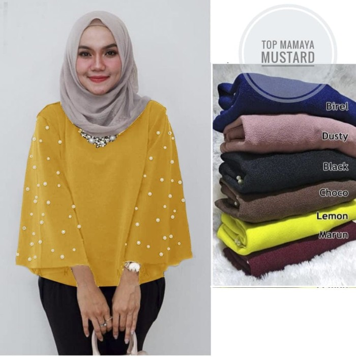 frill anaya top pastel blouse with mutiara
