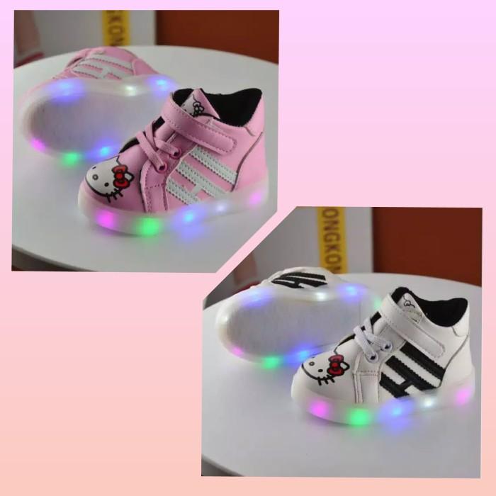 harga Sz 21-28 sepatu anak lampu led import model boot hello kitty hitam Tokopedia.com